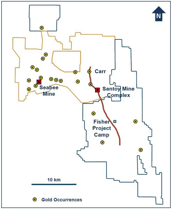 Figure 2. Property map of the Seabee Gold Operation and Fisher project, Saskatchewan, Canada. (CNW Group/SSR Mining Inc.)